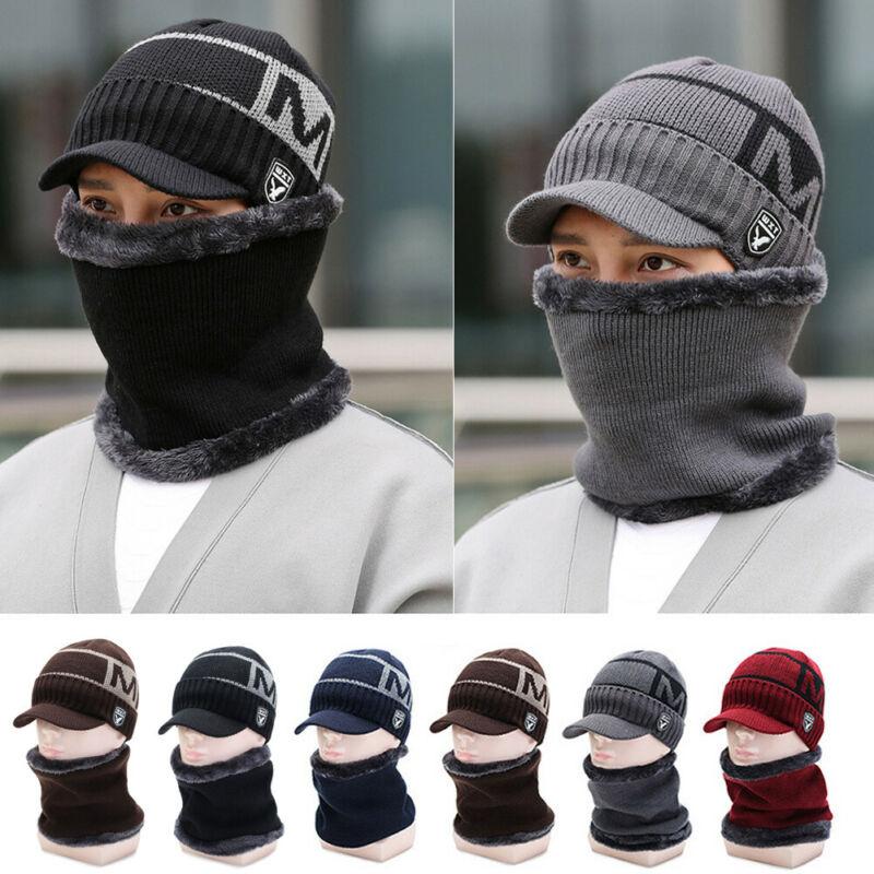 Men Women Thermal Fleece Lined Beanie Hat Warm Knitted Winter Ski Cap Knit Neck Warme 2pcs