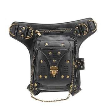 Hot Black Unisex Steampunk Fanny Bag Steam Punk Retro Rock Gothic Bag Goth Shoulder Waist Bags Packs Fashion Motorcycle Leg Bags