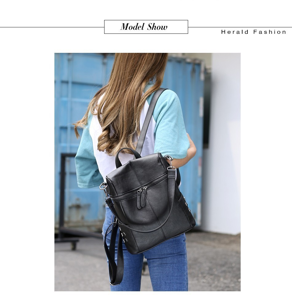 H03aa33f9c3df458ab88a90ae0a6f2866Q Herald Fashion Women's PU Leather Backpack School Bags For Teenage Girls Large Capacity Backpack Laptop Bag Drop Shipping
