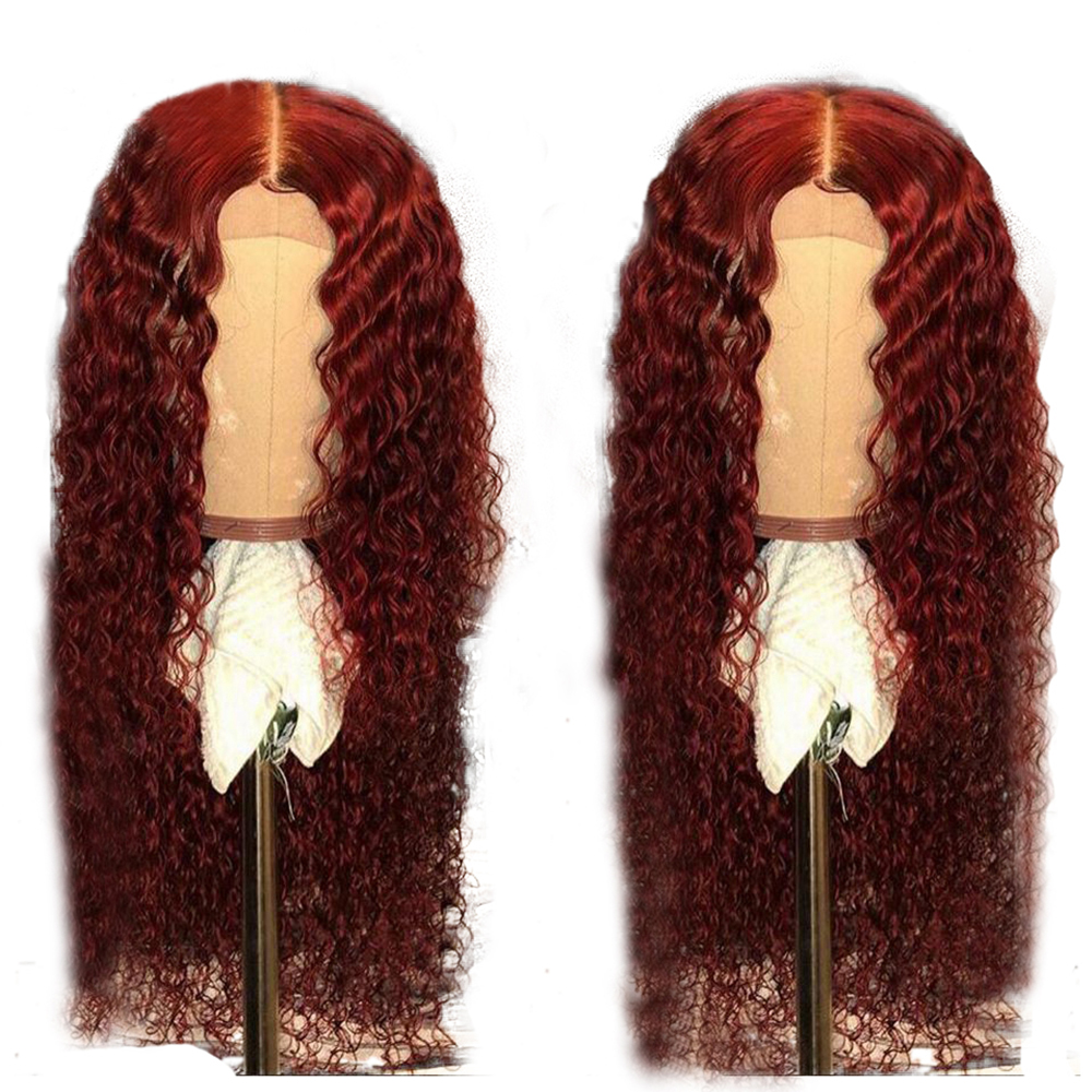 Eversilky Red Orange Curly 13x4 Lace Front Human Hair Wigs Bleached Knots Peruvian Remy Hair Wig  With Baby Hair Preplucked Hair