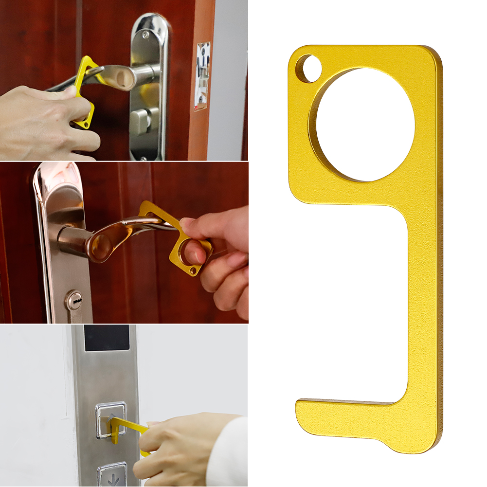 Hand Brass Door Opener Closer No-Touch The Contactless Button Tool Elevator Press Stick Avoid Direct Contact Handheld Non-Contact Door Opener