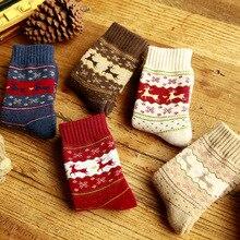 цена на Women Girls Merry Christmas Socks Snowflake Deer Cotton Wool Winter Warm Female Sock Xmas Gifts