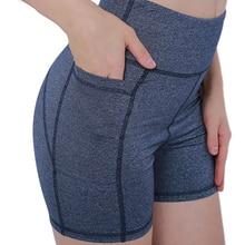 High Waist Workout Yoga Shorts for Women Running Biker Shorts with Pockets navy random floral print back zipper high waist shorts with pockets