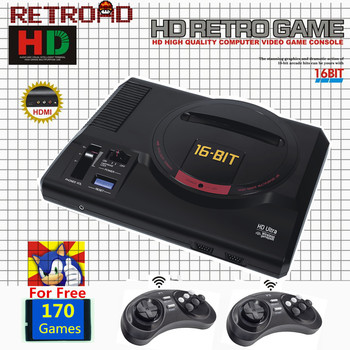 RETROAD ZD06 New Version 16Bit MD Genesis TV Game Console HDMI RCA Display Wireless Gamepads 170 Sega Classic Games 112/126 in 1 1