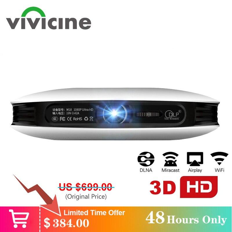 Vivicine 1080p 3D 4K proyector android WIFI USB HDMI Full HD Mini PC juego de cine en casa cine Proyector 12000 mAh batería de la batería Beamer