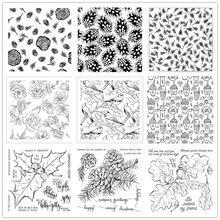 Рождественский цветочный фон прозрачные штампы/силиконовые уплотнения для скрапбукинга фотоальбома/создания открыток