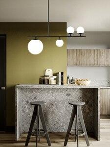Image 2 - الحديث بسيط أسود/ذهبي قلادة LED ضوء الألومنيوم كرة زجاجية مصباح معلق ل الشمال الطعام غرفة المعيشة غرفة نوم تركيبات