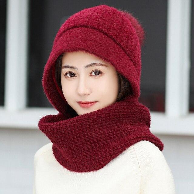 Роскошная теплая вязаная зимняя женская шапка для девочек, шапочки с кроличьими волосами, бархатная шапка маска, Femme Балаклава Шарф, шапка
