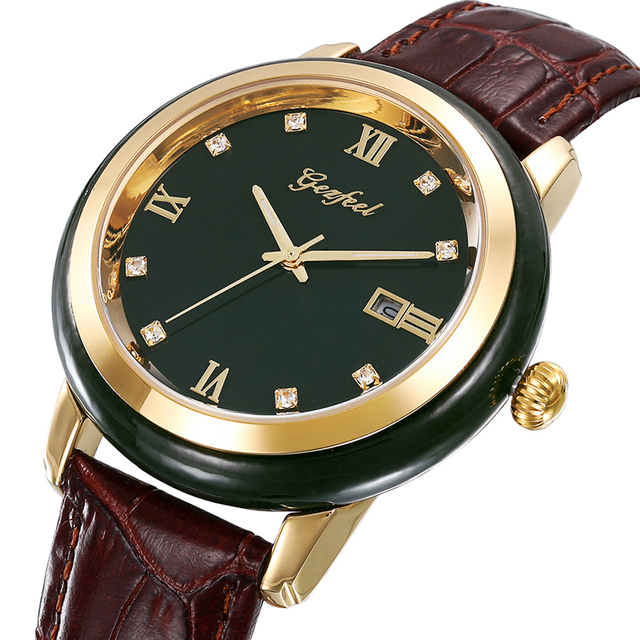 ヒスイ腕時計メンズダークグリーンダイヤルカレンダー表示自動クォーツ時計と証明書革ボックスレロジオmasculino 2020