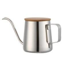 350 мл длинный узкий носик кофейник чайник из нержавеющей стали ручной капельный чайник залейте кофе и чайник с деревянным покрытием