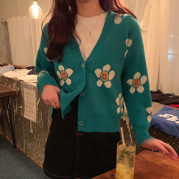 2020 New Fashion Women Flower Cardigans Women Fashion Sweater CR01