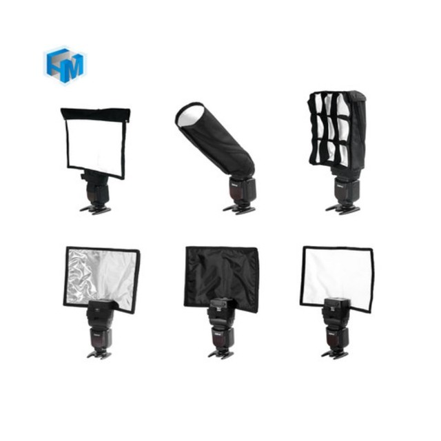 5 in 1 Speedlight Flash set 3 x Foldable Speedlight Reflector + Snoot Flash Softbox Diffuser + Honeycomb grid with Carrying bag