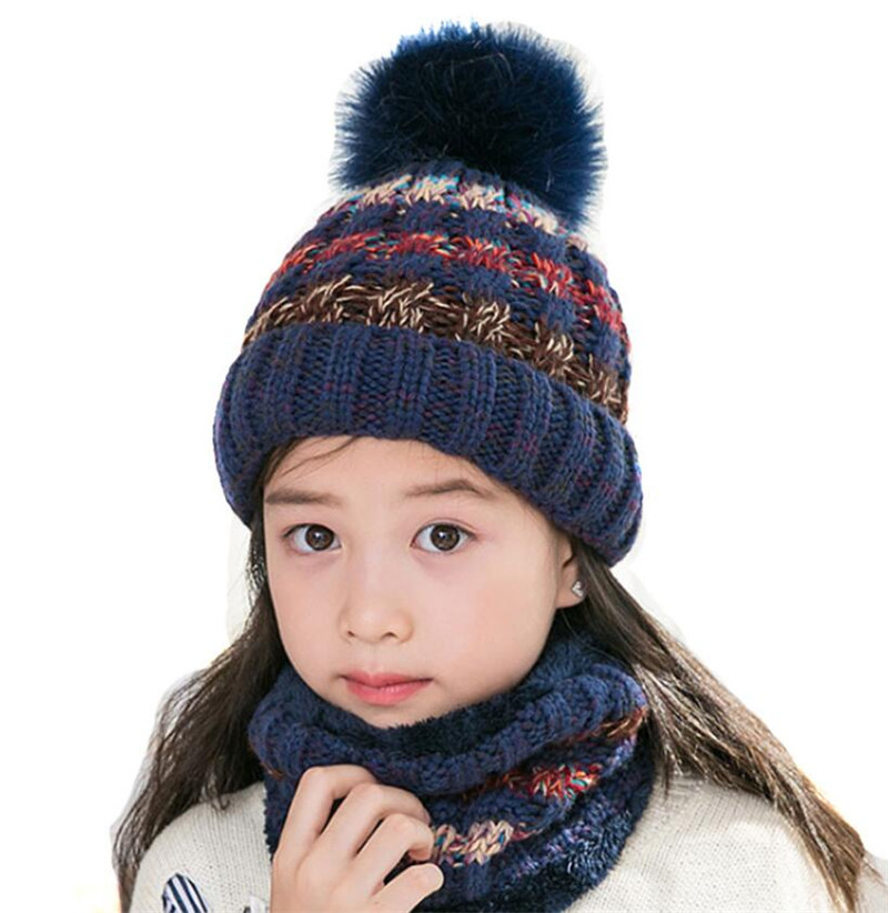Child Winter Knitted Hat Scarf Set Girls Warm Plush Warm Beanies Plush Hat And Ring Scarf Mix Color Big Kid Pom Pom Cap Scarves