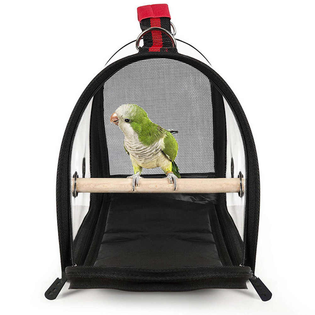 Hot Lightweight Bird Carrier Cage Transparent Clear PVC Breathable Parrots Travel Bag D6