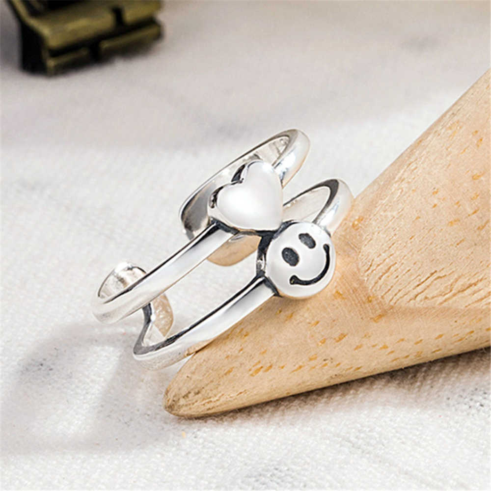 11.11 venda entrega gratuita presentes para as mulheres acessórios coração anéis 925 prata esterlina conjuntos de noiva sorriso rosto retro punk rock anel