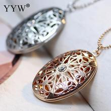 Fashion Locket Necklace Brass With 2lnch Extender Chain Flat Oval Plated Photo Locket Necklace Rhinestone Hollow Nickelace все цены