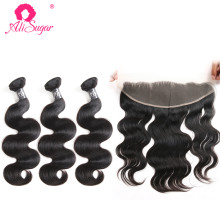 Ali Sugar Hair Peruvian Raw Virgin Hair Body Wave Bundles With Frontal 13*4 Swiss Lace Natural Color Human Hair Extensions(China)