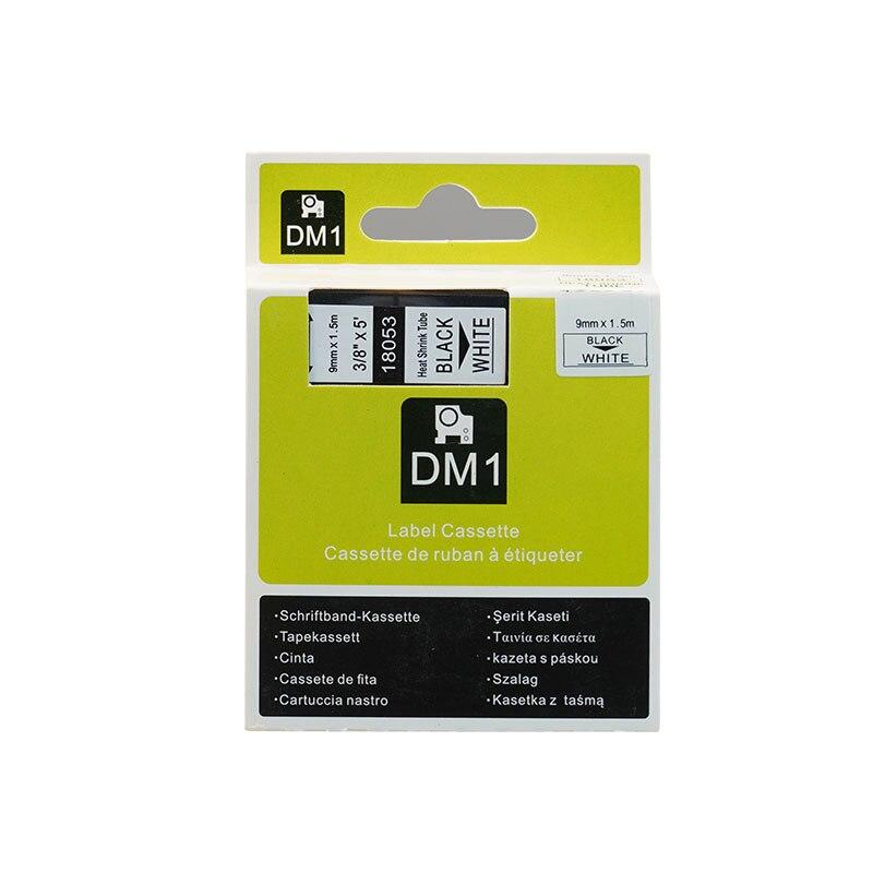 Термоусадочные трубки, совместимые с Dymo Rhino, 5 шт./лот, 9 мм * 1,5 м, черные на белых, 3/8 дюйма, RS5W SKU 18053