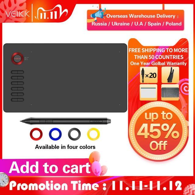 VEIKK 드로잉 타블렛 A15 그래픽 타블렛 10x6 인치 디지털 드로잉 패드 온라인 교육 예술가를위한 예술 8192 레벨 압력
