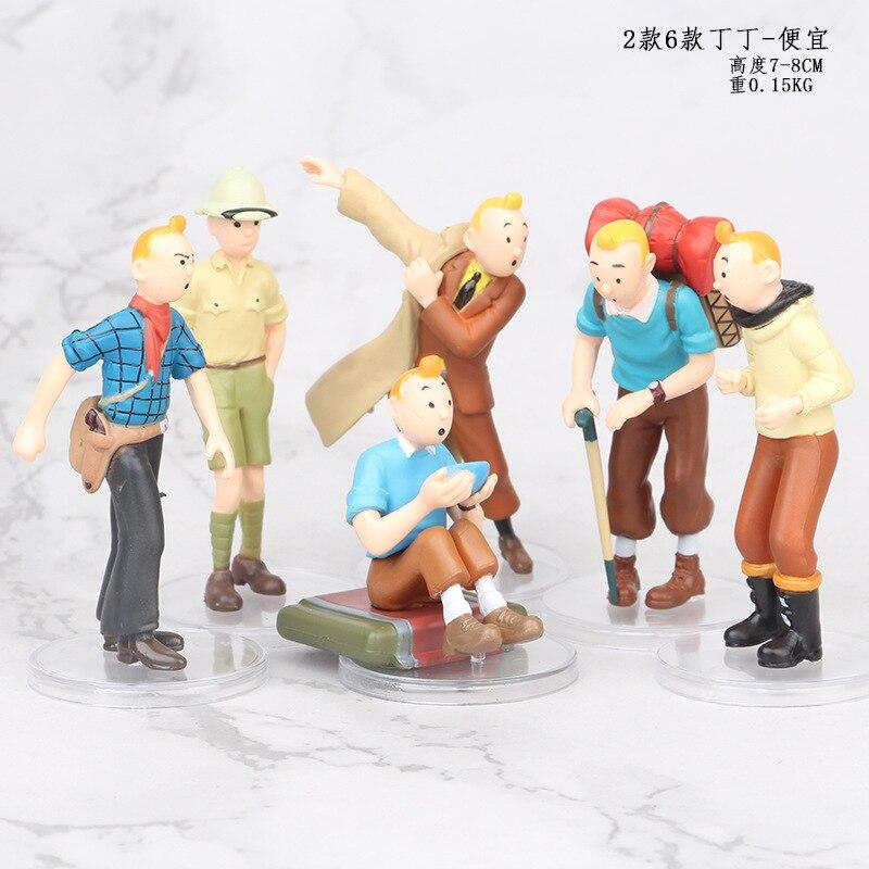 6pcs 5cm- 8cm The Adventures Of Tintin Figurine Herge Les Tintin Snowy Blue Lotus Cartoon Action Figure Collectible Model Toy