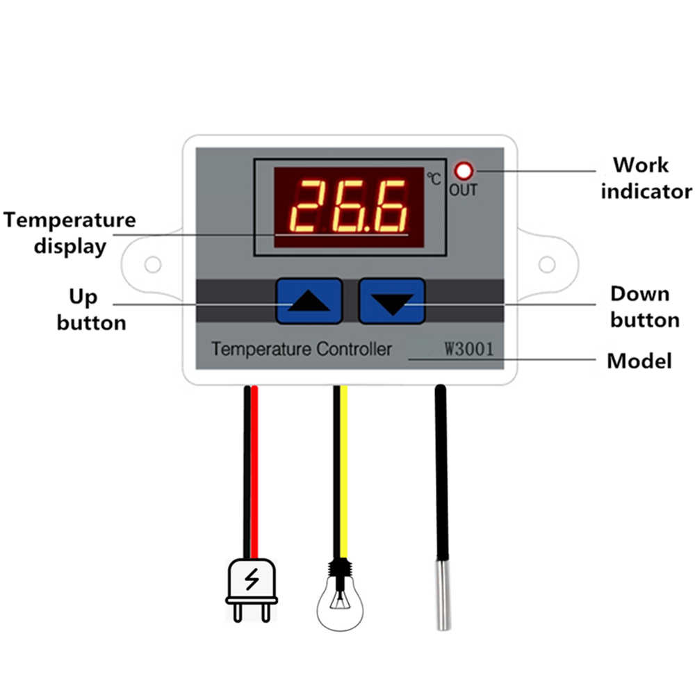 10A 12V 24V 220VAC Digital LED Temperature Controller XH-W3001 untuk Inkubator Cooling Heating Switch Thermostat NTC Sensor