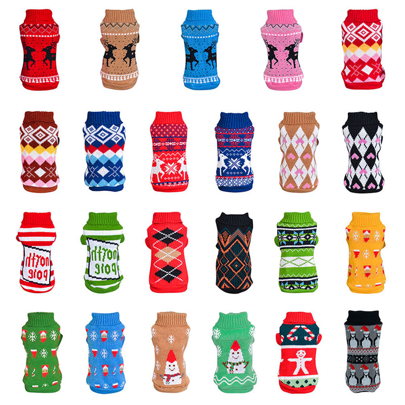 Pet Dog Christmas Cartoon Sweater Clothing For Dog Winter Clothes Classic Pet Outfit Warm Knitting Dog Clothes For XS-XXL