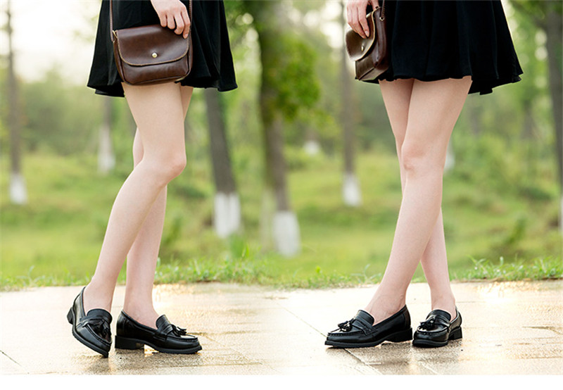 Spring Autumn New Pedal Genuine Leather Loafers Shoes Women British Polished Flat Tassel Oxford Shoes For Woman Large Size 32-43 (33)