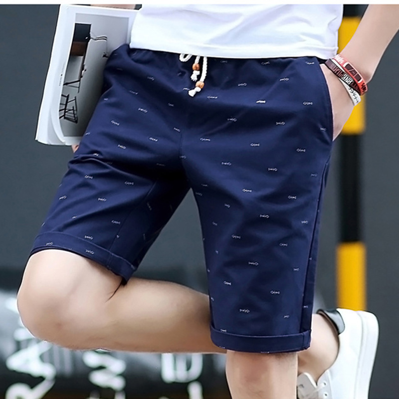 Adisputent Cargo-Shorts Drawstring Knee-Length Summer Casual Mens Brand Plus Straight