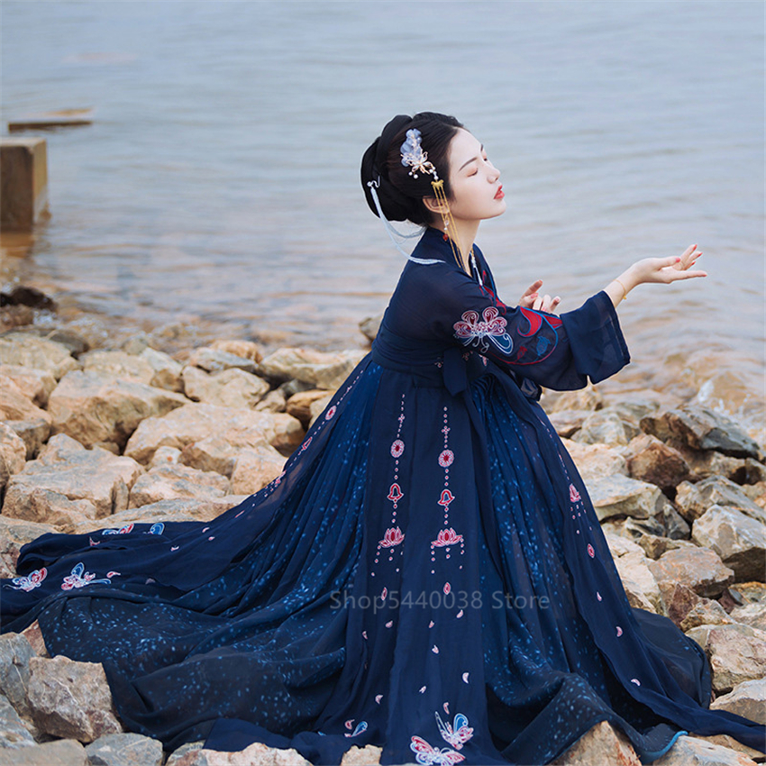 Woman Hanfu Dress Ancient Chinese Folk Dance Costumes Oriental Asian Qing Dynasty National Fairy Princess Photography Cosplay