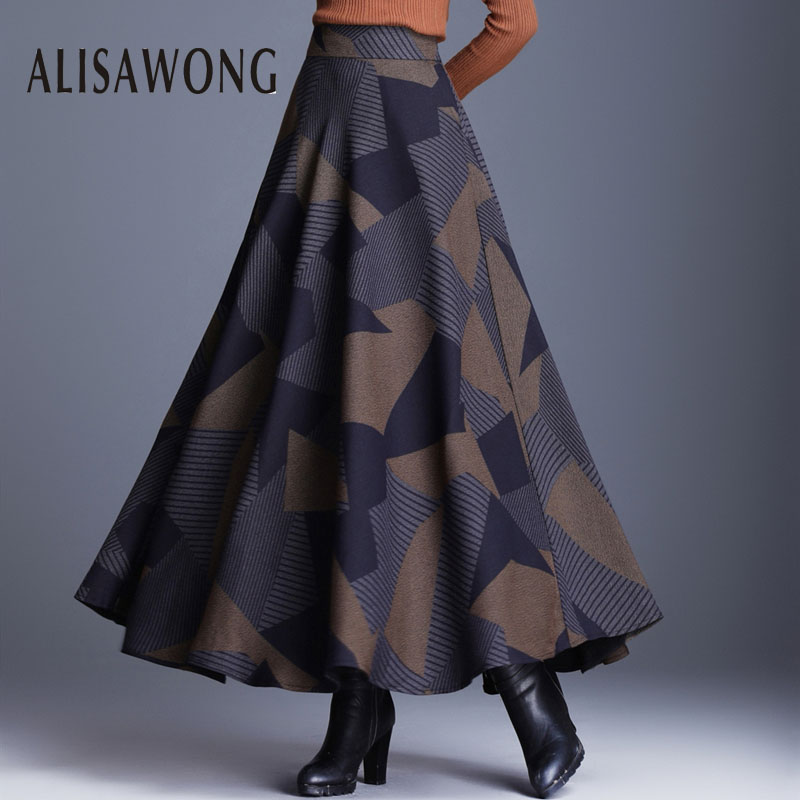Women Plus Size Skirt New 2019 Autumn Winter Vintage Plaid High Waist Long Skirts Ladies Slim A-line Wool Skirts Clothes