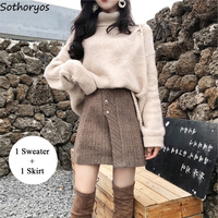 Women Sets Turtleneck Long Sleeved Loose Simple All match Clothing Korean Style Elegant Skirt 2 Piece Outfits for Womens Set