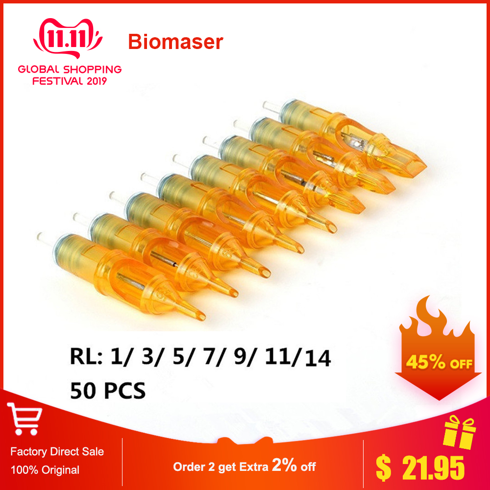 Biomaser 50pcs Disposable Permanent Makeup Tattoo Cartridge Needle For Tattoo Rotary Pen Round Liner 3RL Shader Tattoo Supplies