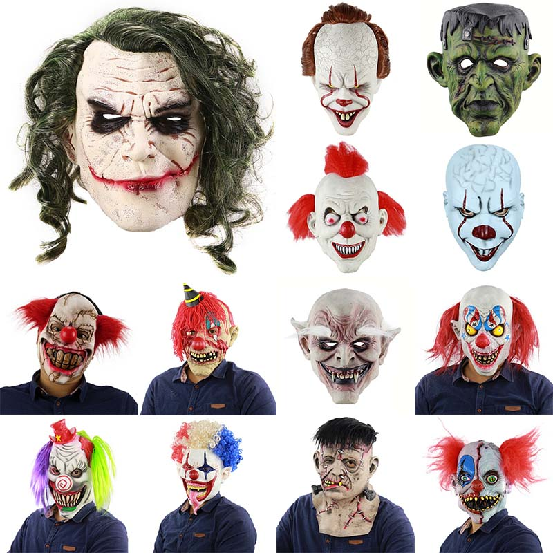 Halloween Party Masks Masquerade Masks for Face Cosplay Horror Scary Clown Mask Green Hair Wig Halloween Latex Mask Party Costum