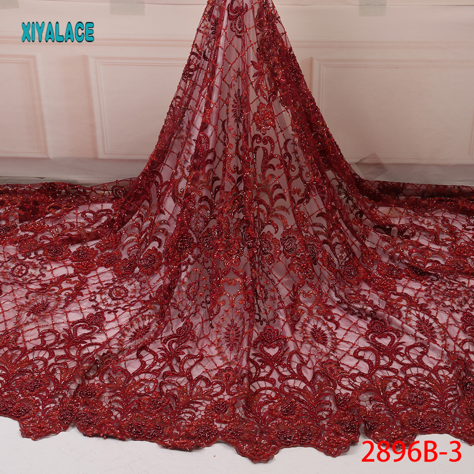 African Lace Fabric Latest High Quality 2019 Lace Embroidery French Lace Fabric Bridal Lace For Nigerian Party Dress YA2896B-1