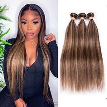 Destaque pacotes beaudiva em linha reta tecer cabelo brasileiro ombre pacotes de remy P4-27 marrom cabelo em linha reta pacotes com destaques