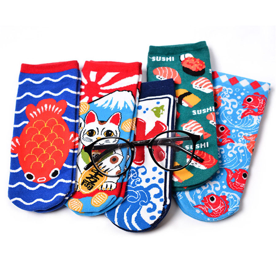 Creative Harajuku Funny Socks Women Japanese Sushi Fish Crew Pattern Jacquard Cute Socks Lovely Crew Calcetines Mujer Sox