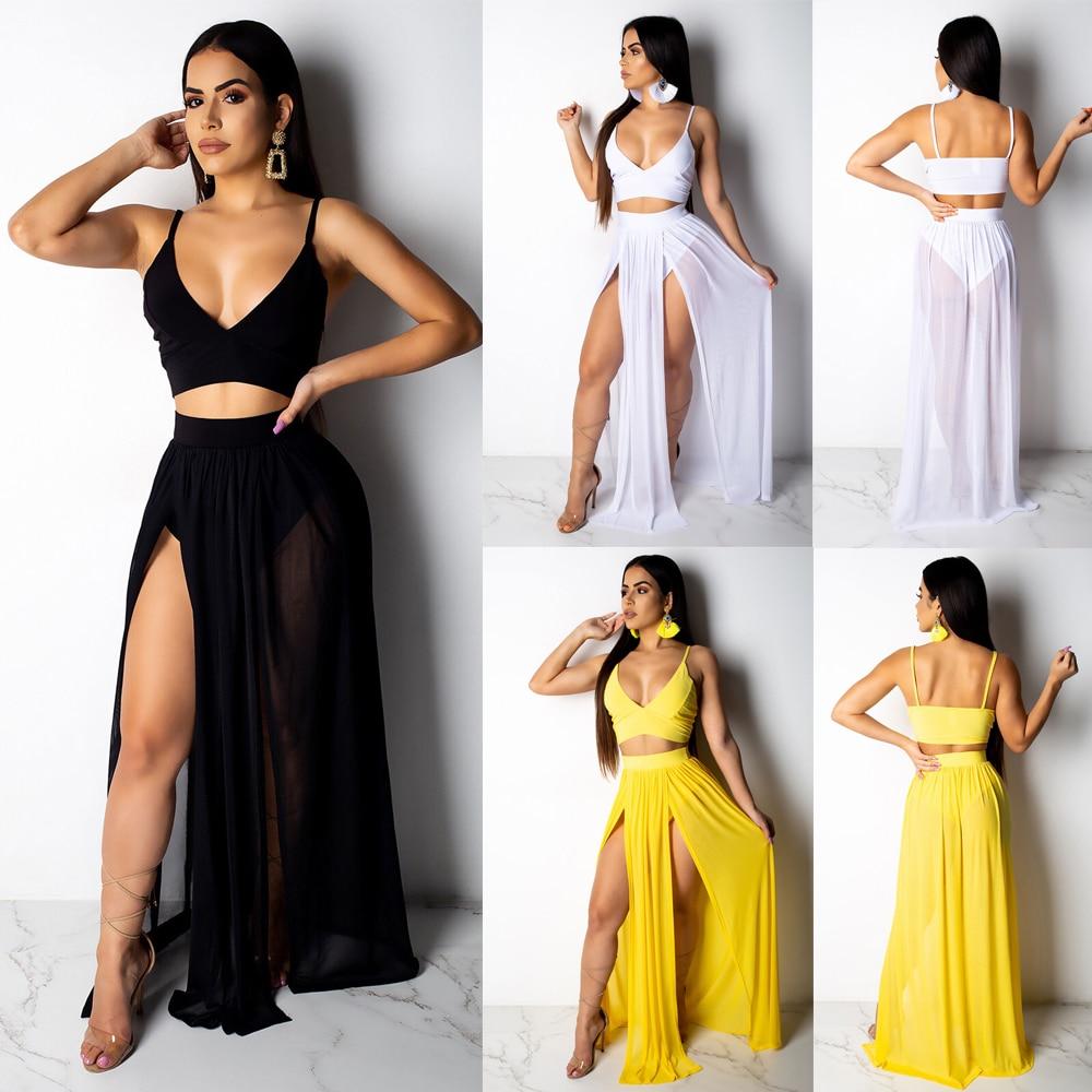 Women Summer Beach Deep V Party Dress Long Skirt Crop Top Two Piece Set Solid Swimsuit Swimwear Cover Up