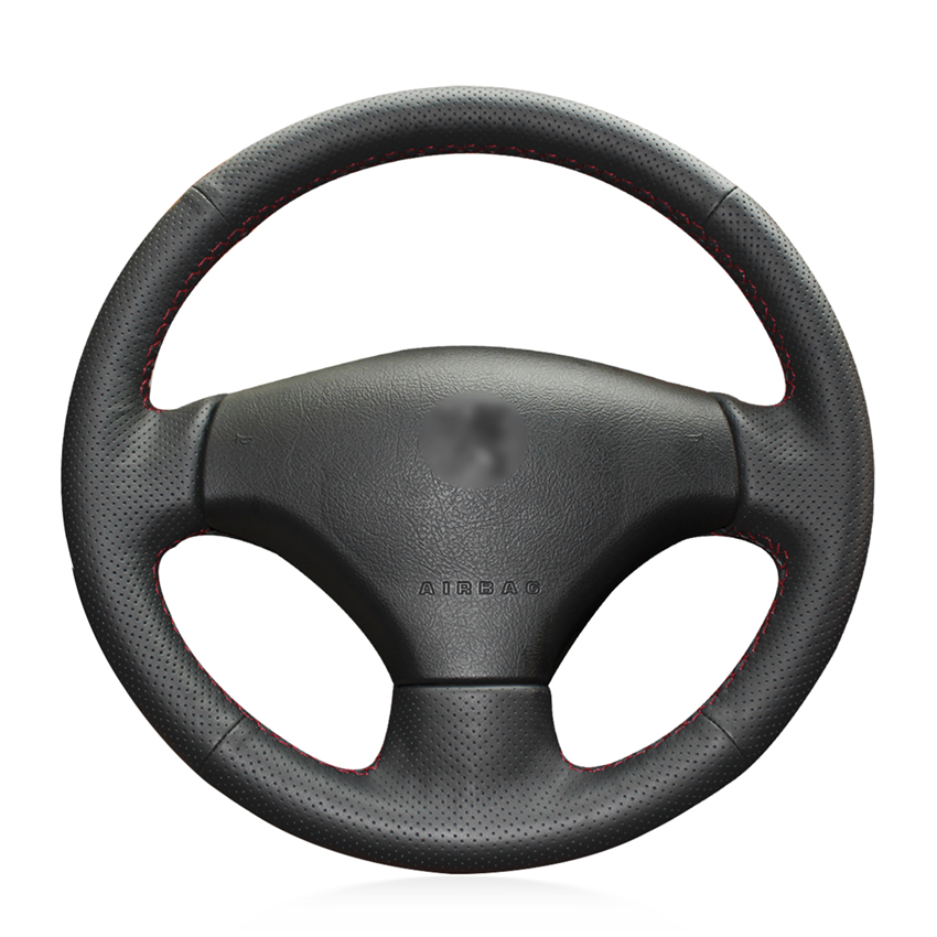 Hand-stitched Black Artificial Leather Antu-slip Soft Comfortable Car <font><b>Steering</b></font> <font><b>Wheel</b></font> Cover for <font><b>Peugeot</b></font> 206 2007-2009 <font><b>Peugeot</b></font> <font><b>207</b></font> image