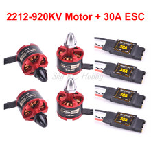 4pcs 2212 920KV CW CCW Brushless Motor + 4x 30A 2-6S ESC OPTO Electronic Speed Controller For F450 S500 X525 Multicopter(China)