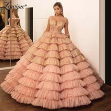 ほこりピンクウエディングドレス V ネックドバイイブニングドレスティアード女の子卒業ドレスページェントパーティードレス 2020 カスタムカフタン