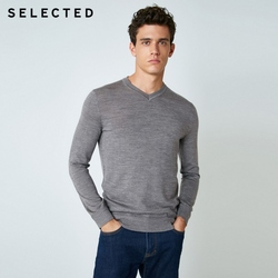 SELECTED 100% Wool Sweater Italian Merino V Collar Knit Clothes Men's Lightweight Knitwear Pullovers S | 418424501 2