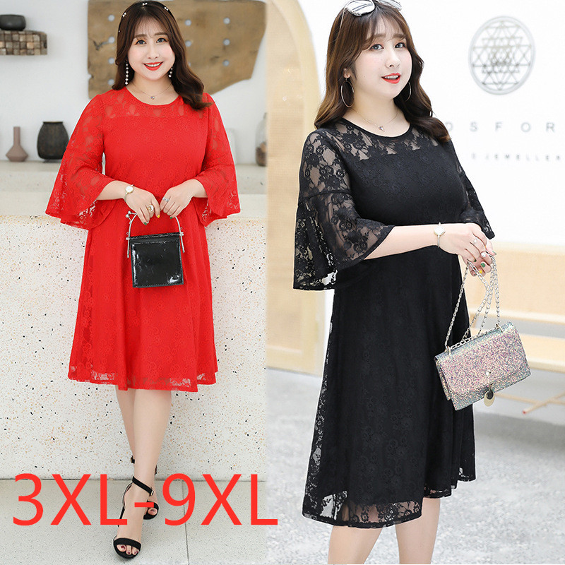 New 2020 summer plus size dress for women large short sleeve loose lace pleated dress black red 3XL 4XL 5XL <font><b>6XL</b></font> <font><b>7XL</b></font> <font><b>8XL</b></font> 9XL image