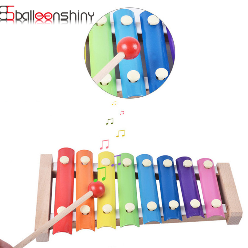 BalleenShiny Baby Toys Music Instrument 8 Keys Wooden Musical Toy Xylophone Kids Educational Development Toy For Child Gifts