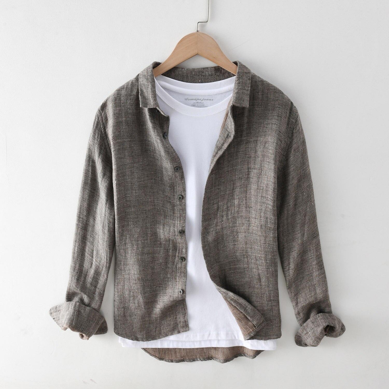 Mężczyźni wiosna lato nowa moda Basic Design japonia proste bawełniane, w stylu Harajuku lniana koszula z długim rękawem Solid Color Lapel bluzka Vintage