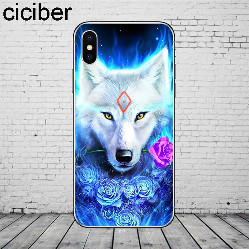 Ciciber الحيوان الذئب الأسد الهاتف حالات ل فون 11 برو ماكس غطاء ل فون XR 8 7 6 6S زائد X XS ماكس 5S SE لينة TPU قذيفة كوكه
