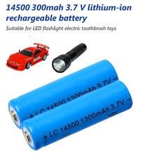 Novo aa 14500 300mah 3.7 v bateria de iões de lítio recarregável li-ion para faróis de lanterna led