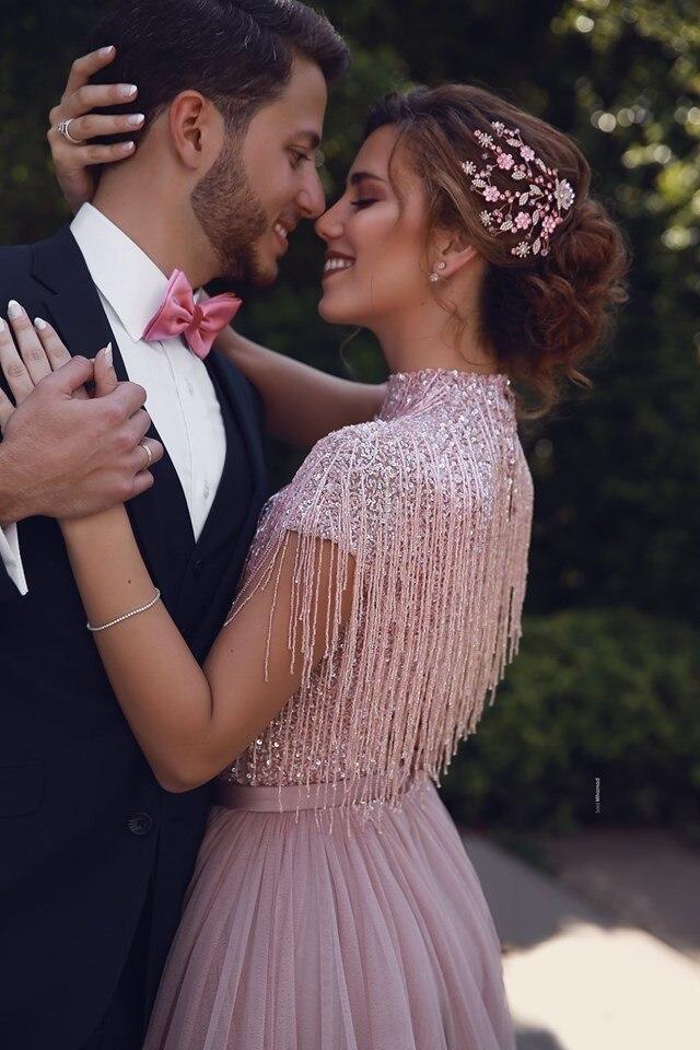 Abendkleider 2019 Staubigen Rosa Pailletten Abendkleider Quaste Tutu A linie Prom Kleider Muslimischen Hohen Kragen Formale Kleider - 3