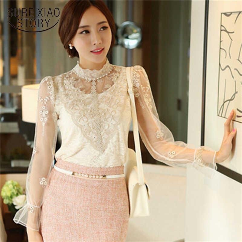 חדש 2019 נשים צמרות חולצות ארוך שרוול חולצות בציר נשים חולצות שיפון Femme נשים תחרה חולצות Blusas Femininas 980F25