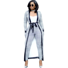 Fashion 3 Piece Set Women Top  Pants Long Coat Clothing Sets Moletom Feminino Inverno Boho New Hot Sale 2019