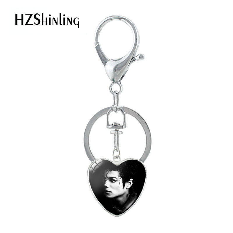 2019 New Arrival Heart Shaped Keychain Michael Jackson Pattern Souvenirs Silver Glass Pendants Keychain For Best Gifts Jewelry